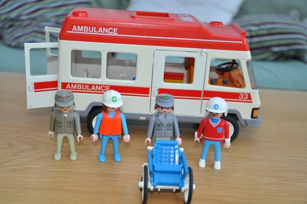 Playmobile Ambulance, Police Helicopter, Fire Engine and accessories Toy train Early racing car