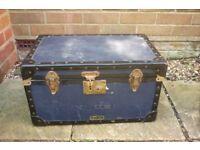 vintage blue and black storage flight chest case mossman london