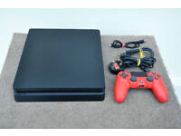 Sony PlayStation 4 500GB Slim Console + New Carbon Fibre Skin + Controller
