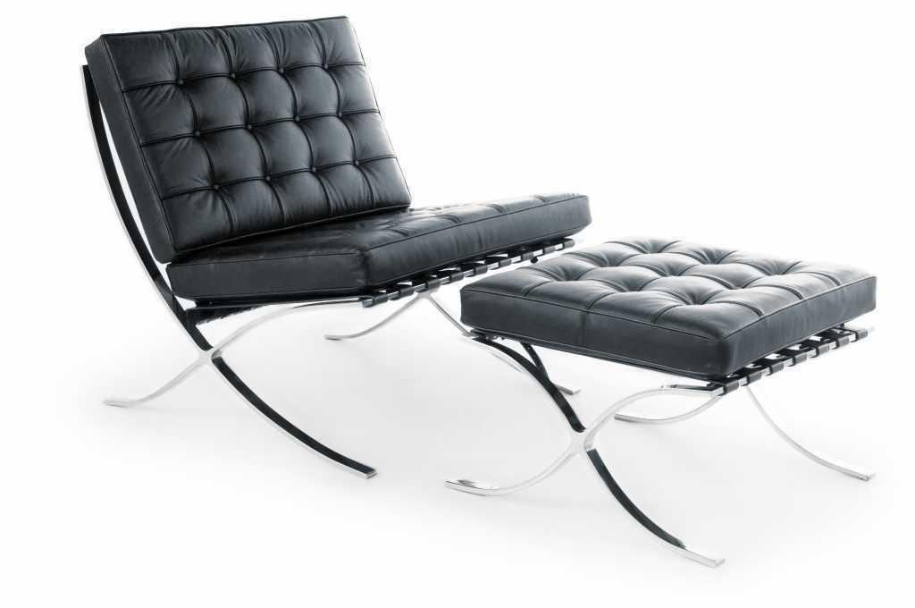 Retro Barcelona Style Lounge Chair and Ottoman 100% Genuine Italian Leather USA