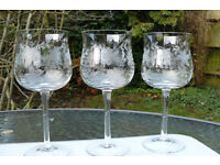 Antique wine glasses x 3. Elegant shape and delicately etched grape vine pattern.