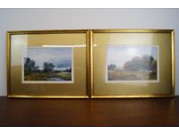 pair of stunning original oil paintings of landscapes beautifully mounted and framed under glass