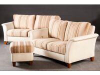 Vintage retro antique style 2 seat sofa pair footstool beige stripy Gepade