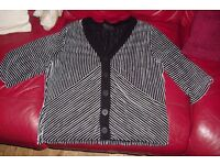 SIZE 16 BLACK/WHITE STRIPE CARDIGAN/JACKET WITH BUTTONS UP THE FRONT