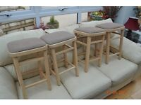 4 low wooden kitchen stools