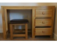 Solid Oak 3 Drawer Dressing Table with Leather-covered Oak Stool