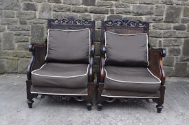 pair of vintage 1930s french bergere chairs