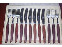 6 steak knives and forks