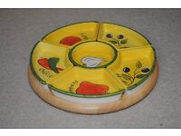 Lazy Susan with revolving wooden base & 6 ceramic dip dishes