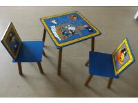 Boy Blue Brown Pirate Themed Table and 2 Chair Set Kidsaw Nursery Playroom Seating