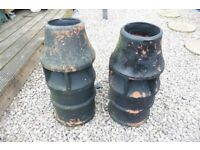 TWO LARGE CHIMNEYS/GARDEN POTS