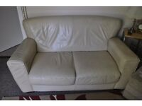 2 x 2 Seater leather sofas, Cream Leather in good condition