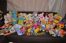 Big bundle of baby kids toys Fisher Price, Vtech, blocks, dolls, teddy, activity toys with sounds