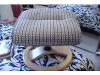 BRAND NEW FOOT STOOL IN BLACK/WHITE/GREY PRINT ON ROUND BEECH FRAME