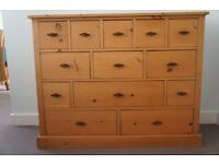 Solid Pine 13 Drawer Merchant Chest