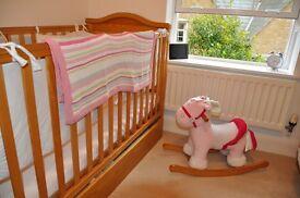 Oak cot bed