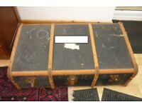Large Vintage Banded Steamer Trunk Chest Case