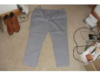 SIZE 18 PAIR BLUE/WHITE PRINT TROUSERS EXCELLENT CONDITION