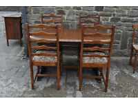 refectory extending dining table and four chairs shabby chic