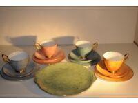Vintage Royal Albert Gossamer Harlequin Bone China Tea Set. Thirteen Pieces. Very Good Condition