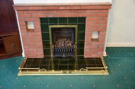 Gas Fire with Brass hearth surround