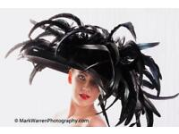 Stunning Ladies Designer Hat in Black with Feathers
