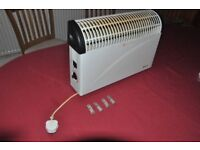 Delta 2kW Mains Electric Wall-mounted Convector Heater with Thermostat and Dual-heat Setting