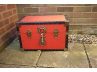 red and black storage flight chest trunk case
