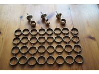 *** Set of 32 Curtain Brass Rings and 3 Brackets ***