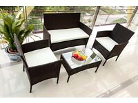 SALE!! Black 4-Piece Rattan Cube Garden Furniture Set