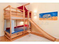 Billi Bolli Bunk Bed, solid pine + drawers + hoist + slide