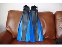 """US Diver"" swim fins (size 9-13), mask and breathing tube. Only used once. Excellent condition"