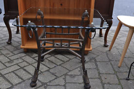 glass and wrought iron lamp table