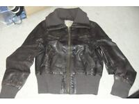 SIZE 10 CHOCOLATE BROWN LEATHER LOOK EFFECT BIKER JACKET