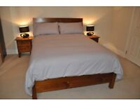 Double bed set, organic mattress & lamps