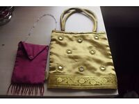 NEW 2 LITTLE BAGS ONE IN BURGUNDY AND ONE IN GOLD CUTE LITTLE BAGS BOUGHT IN THAILAND