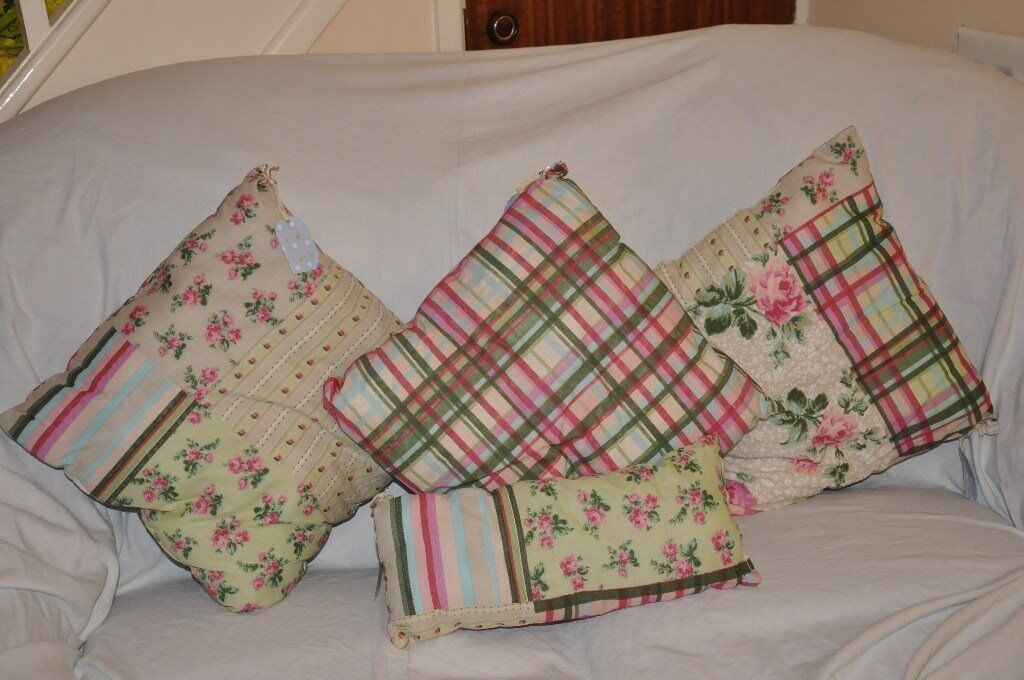 Set of 4 Hand-Made Reversible Floral Cushions - ideal Xmas present