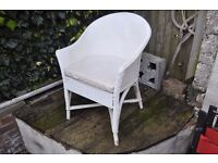 Lovely painted wicker chair and matching small laundry basket