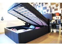 **7-DAY MONEY BACK GUARANTEE!** Double Ottoman Storage Bed with 10inch Original DQ Mattress-RRP£289!