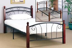 Black Metal Bed with Dark Cherry Posts  web exclusive deal (IF713)