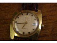 vintage 1970s timex date manual winding gold tone case and face leather strap working