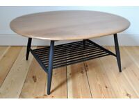 Vintage Retro 60's Ercol Windsor Oval Coffee Table with Magazine Rack