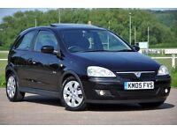 2005 Vauxhall Corsa 1.2 i 16v SXi 3 DOORS+12 MONTHS MOT+BLACK+SERVICE HISTORY+CHEAP TO RUN
