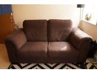 Two seater Ikea sofa, dark brown.