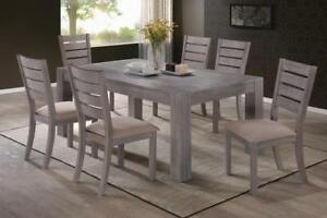 METRO 7PC DINING TABLE SET IN GREY (TABLE & 6 CHAIRS)