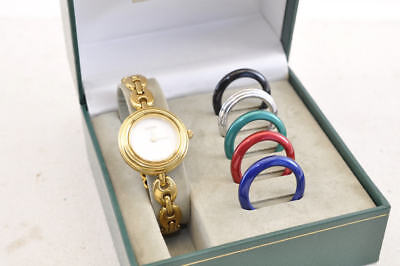 GUCCI 11/12.2 3575 WHT DIAL GOLD TONE RICE LINK BEZELS LDS WATCH Auth 3575