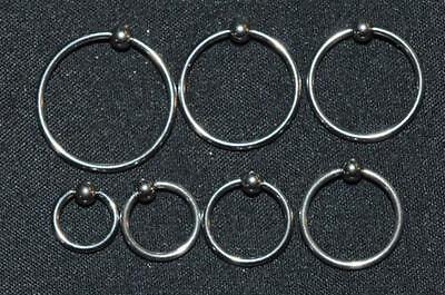 TEN(10) 16G 316L Surgical Stainless Steel Captive Bead Rings Earring Lip Nipple