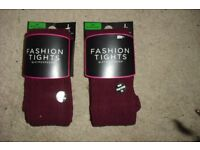 SIZE S/M BRAND NEW 2 PAIRS OF BURGUNDY THICK TIGHTS FOR THE WINTER