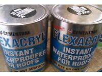 2 x 5 litre roofing flexacryl brush on waterproofer roof seal repair