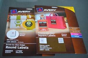 Avery Labels- Glossy White Round & Square Port Adelaide Port Adelaide Area Preview